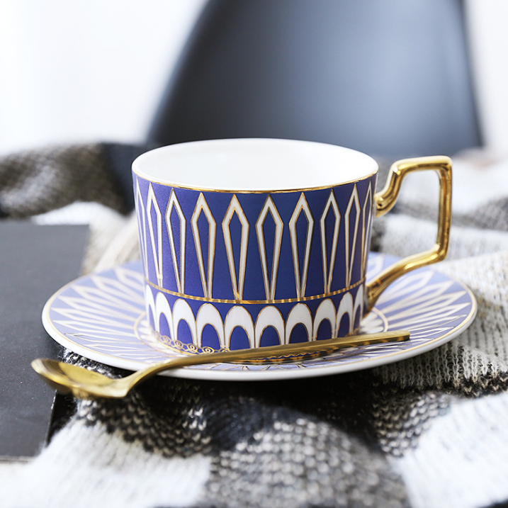 Matching set of cup and saucer are a great way to enjoy a nice cup of tea or coffee. Makes a great gift set. Comes in blue and pink. Set of 3 includes a saucer, cup and a teaspoon.