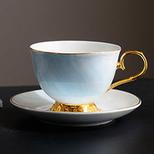 Load image into Gallery viewer, Gold Pedestal Coffee Tea Cup and Saucer