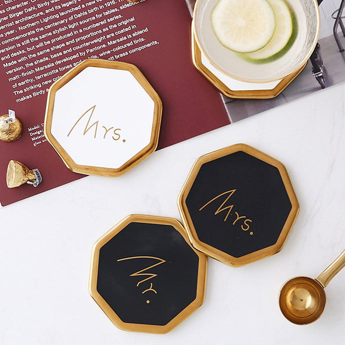 Protect your table and looks chic with these gorgeous black and white couple ceramic coasters. Not just to sit your beverage, Mr and Mrs coasters has a gold trim edge to add a chic look.