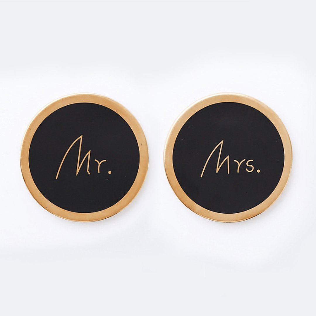Mr and Mrs Ceramic Round Coasters, 2 Pieces