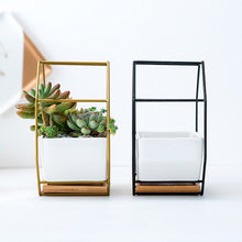 Load image into Gallery viewer, ceramic planters indoor plant pots flower succulents decorative garden pot bamboo tray honeycomb hexagon metal gold rack