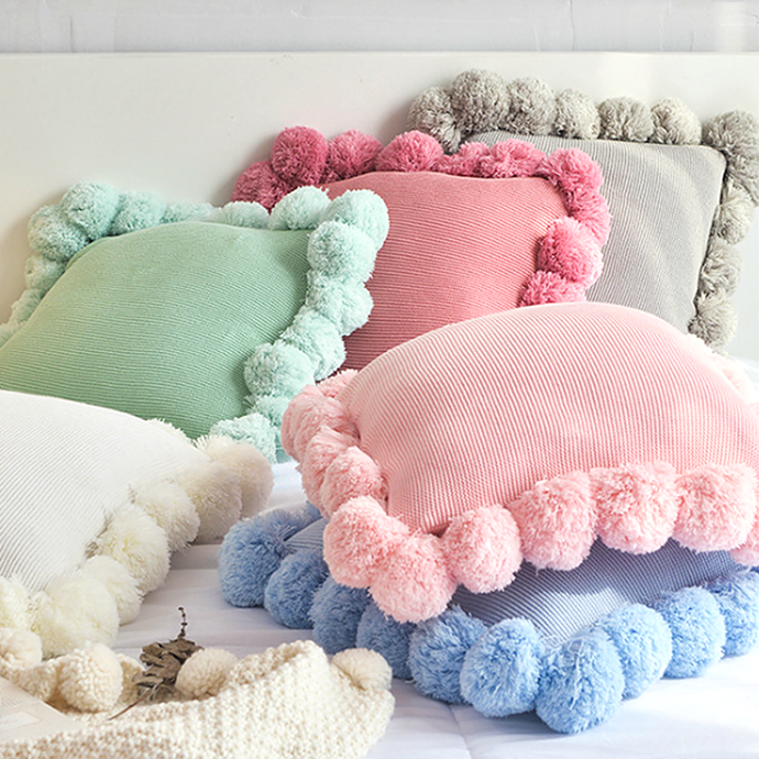 Super soft cotton cushion throw with pom poms fringe adds that cosy and playful touch to your room decor. They are fantastic to snuggle up with and an easy and effortless way for an instant room update. Now with more fun colours and comes in 2 sizes.