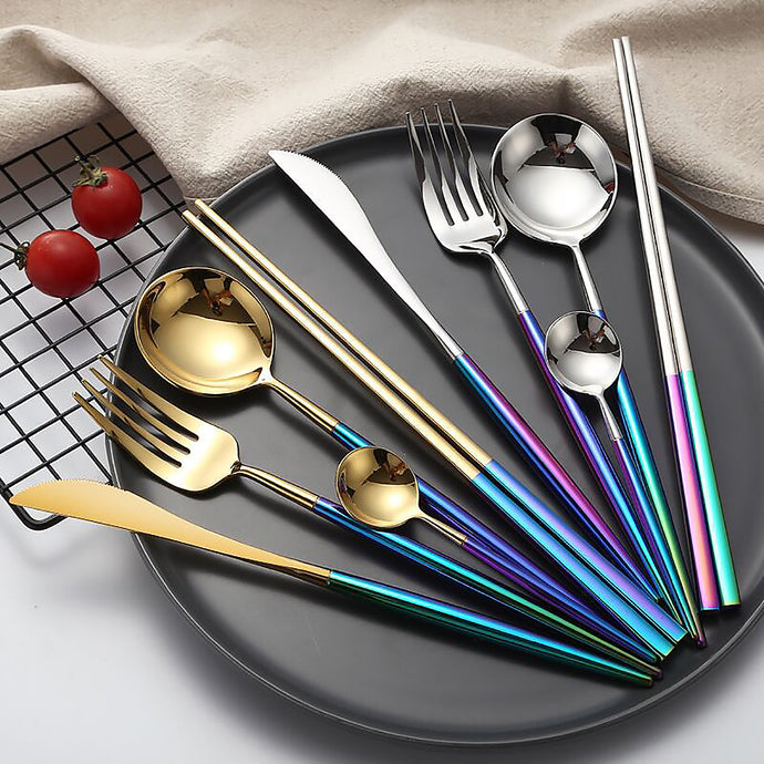 Add these quality 304 stainless steel 4 piece flatware set to your existing collection for everyday use or special occasions. The 4 piece flatware set adds a stylish chic look at any table setting for brunch or dinner with friends. rainbow flatware set