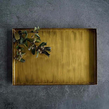 Charger l'image dans la galerie, Display your jewellery, flowers, candles and more with this rustic vintage gold decorative steel tray. Tepsi. Tablett. Plateau. Bandeja. Bakke. Bricka.