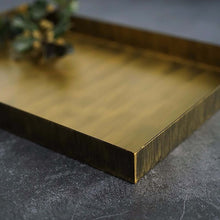 Charger l'image dans la galerie, Display your jewellery, flowers, candles and more with this rustic vintage gold decorative steel tray. Rustic Gold Decorative Rectangular Tray.