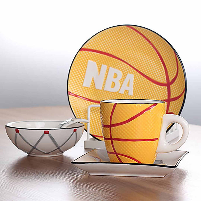 Make mealtime fun for your child to eat with this cute set of matching basketball dinnerwares complete with a plate, side plate, bowl, mug and spoon. Makes a perfect setting for parties or birthdays.