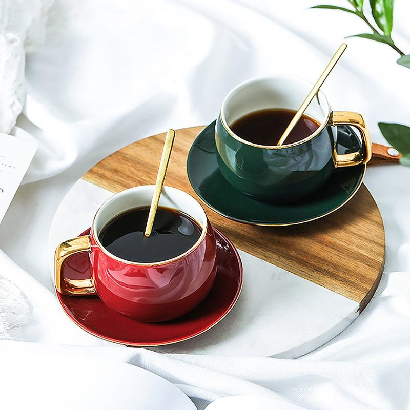The ideal way to start your day or much needed caffeine boost during your mid-morning cuppa. Beautiful vintage charm round-sharped cup and matching saucer for any hot beverage like coffee, tea, hot chocolate or cappuccino.  Set of 2 cups and saucers plus FREE gold coffee spoon with any purchase.
