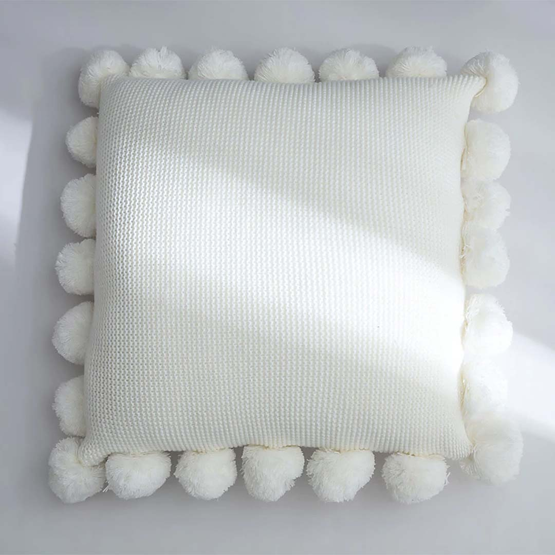 Solid Cushion Cover White Green Orange Blue Knitted Pom pom Solid Pillow Case 45*45cm Soft For Sofa Bed Nursery Room Decorative