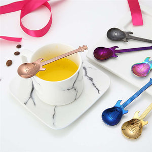 Stainless Steel Guitar Shaped Love Coffee Spoon Teaspoon Children Spoon New Beautiful 7 Colors Coffee Tea Use