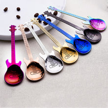 Load image into Gallery viewer, Stainless Steel Guitar Shaped Love Coffee Spoon Teaspoon Children Spoon New Beautiful 7 Colors Coffee Tea Use-7