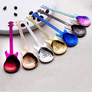 Stainless Steel Guitar Shaped Love Coffee Spoon Teaspoon Children Spoon New Beautiful 7 Colors Coffee Tea Use-7