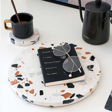 Load image into Gallery viewer, Stylish Terrazzo Serve Board is sure to stand out during dinner parties or addition to modern homes decor on a side table, coffee table or dining table. Use it to serve everything from cheese, fruits and snacks.
