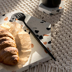 Stylish Terrazzo Serve Board is sure to stand out during dinner parties or addition to modern homes decor on a side table, coffee table or dining table. Use it to serve everything from cheese, fruits and snacks.
