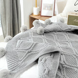 Soft Knitted Throw Blanket with Pom Pom