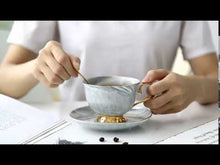 Load and play video in Gallery viewer, Gold Pedestal Coffee Tea Cup and Saucer