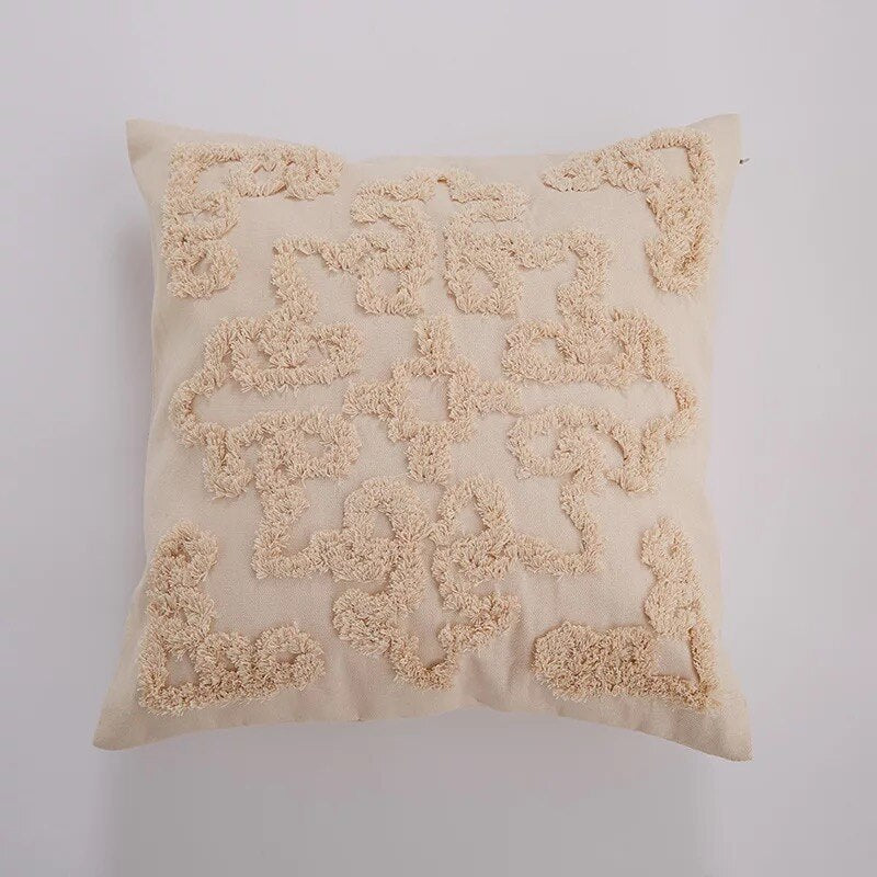 Beige Embroidered Throw Pillow Cushion Cover