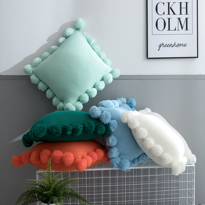 Solid Cushion Cover White Green Orange Blue Knitted Pom pom Solid Pillow Case 45*45cm Soft For Sofa Bed Nursery Room Decorative pillow case