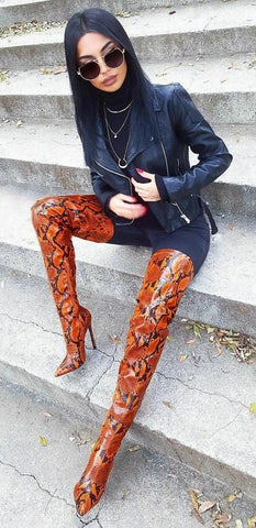 Get the look Fashion tip for Toxic thigh high boots by Cape Robbin