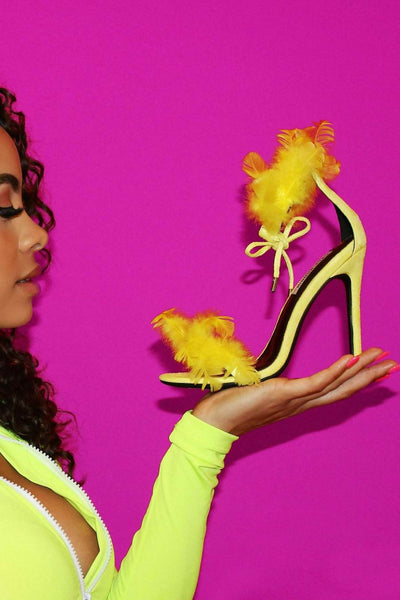 Feathered high heel shoes from Cape Robbin available on FlashyBox.com