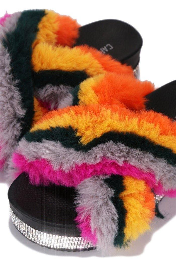 SPOTTY COZY MOOD PLATFORM FUR SLIDES-RAINBOW