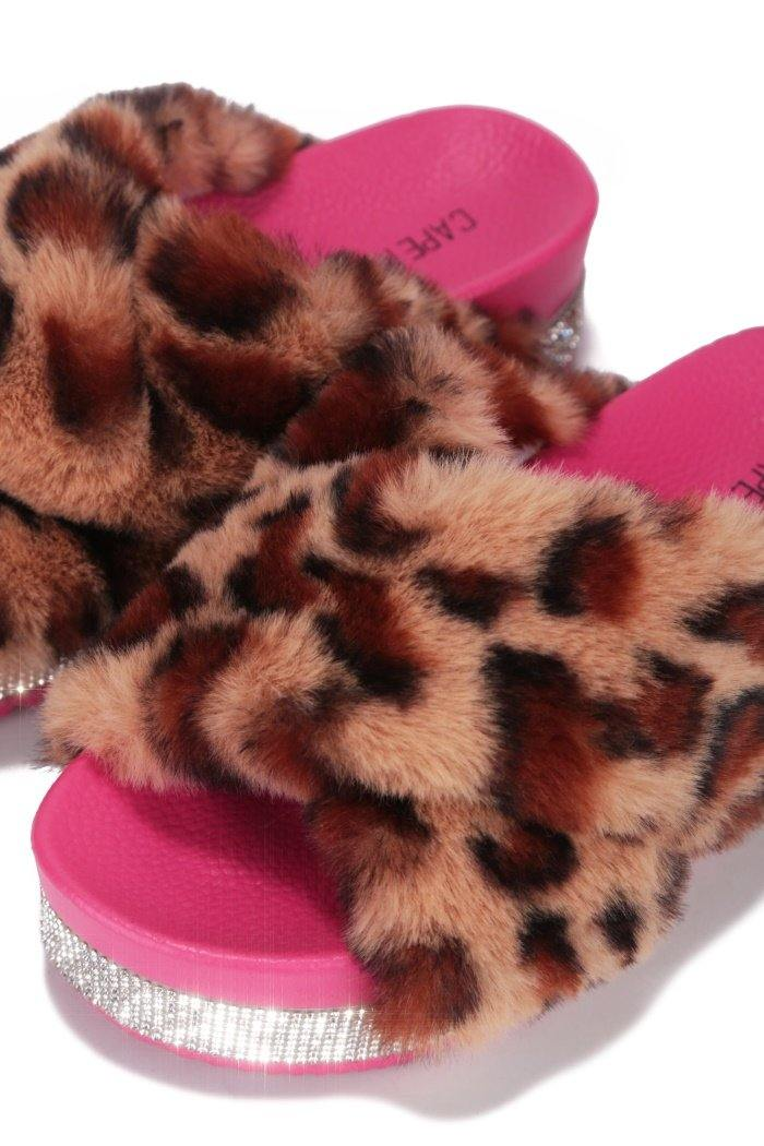 SPOTTY COZY MOOD PLATFORM FUR SLIDES-LEOPARD