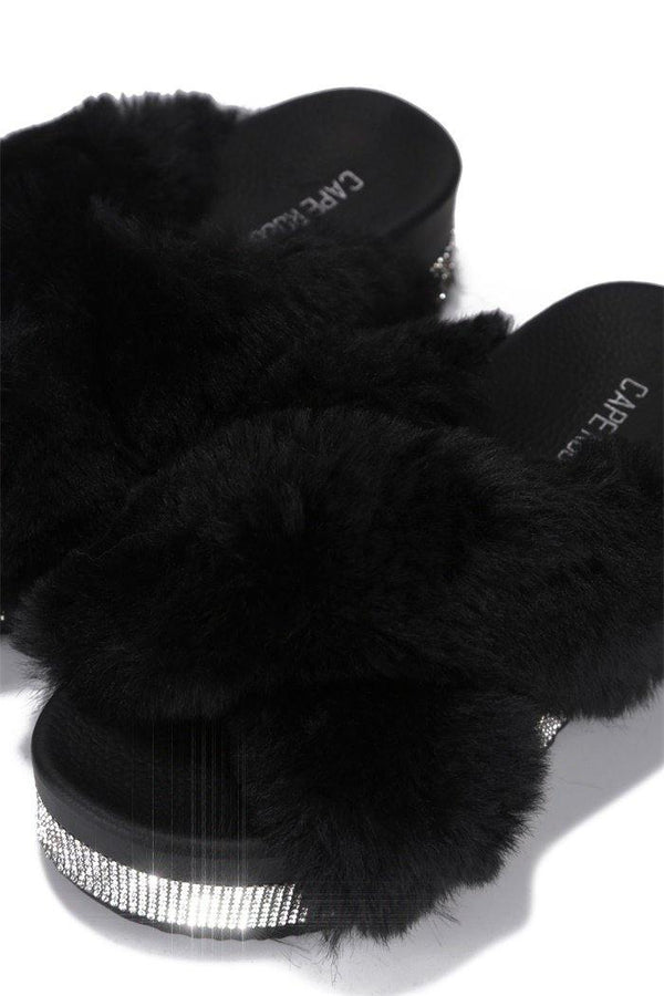 SPOTTY COZY MOOD PLATFORM FUR SLIDES-BLACK