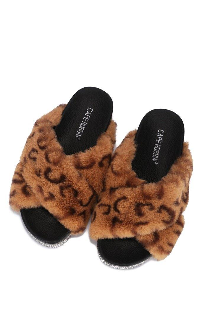 SPOTTY COZY MOOD PLATFORM FUR SLIDES-CHEETAH