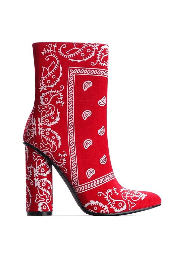 BOAS SNAKE SKIN CHUNKY STACKED HIGH HEELED ANKLE BOOTS WITH BANDANA PRINT-RED