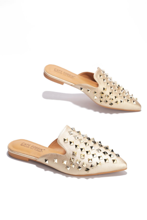 ENVY MY ENNY SPIKY FLAT SANDALS-GOLD