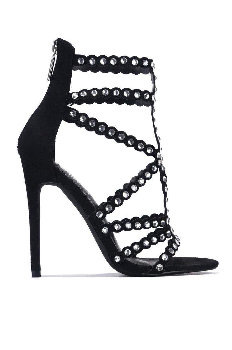 PORTOFINO FORGETTING MY WORK RHINESTONE HEELED SANDALS-BLACK