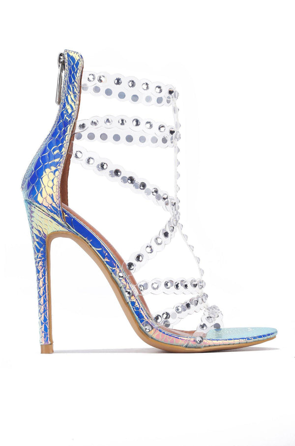 PORTOFINO FORGETTING MY WORK RHINESTONE HEELED SANDALS-IRIDESCENT