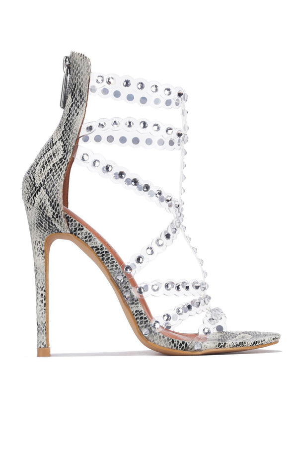 PORTOFINO FORGETTING MY WORK RHINESTONE HEELED SANDALS-SNAKE
