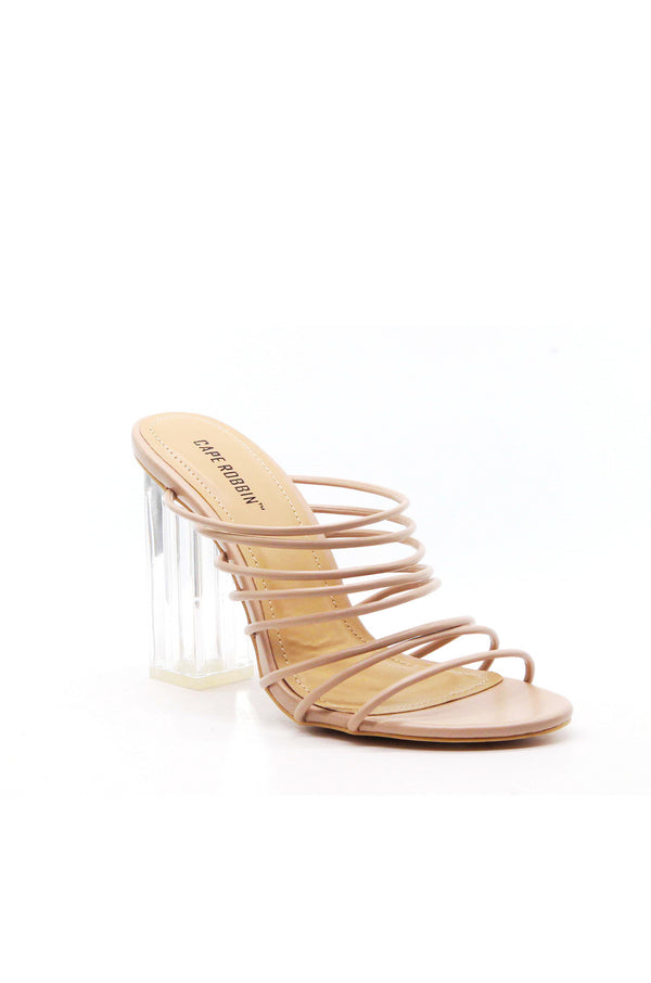 FIA CHUNKY BLOCK HIGH HEEL STRAPPY SLIP ON SLIDE SANDALS-NUDE
