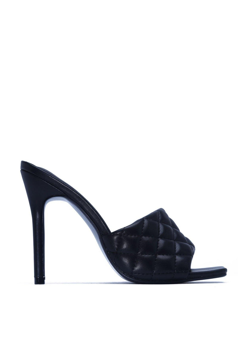 STITCH SQUARE STILETTO SANDAL-BLACK