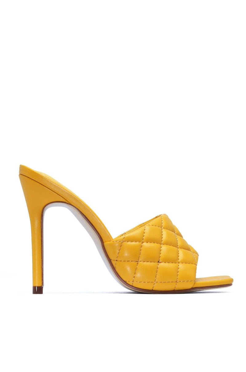 STITCH SQUARE STILETTO SANDAL-YELLOW