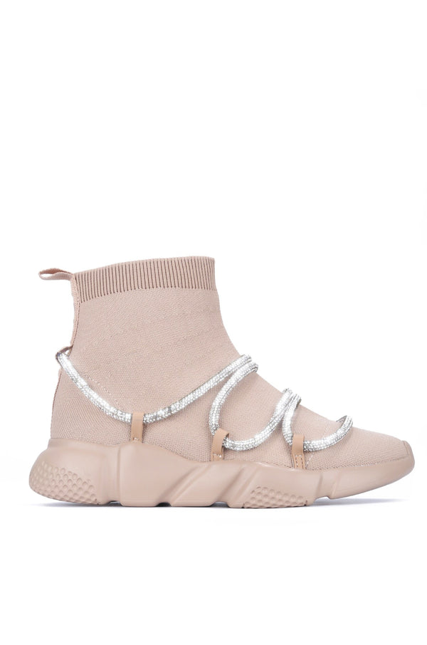 RADIATE RHINESTONE BUNGEE HIGH TOP SNEAKER-NUDE