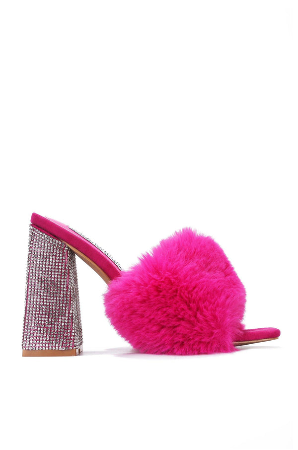 SOFTY PICK UP THE PHONE FUR MULE SANDAL-PINK