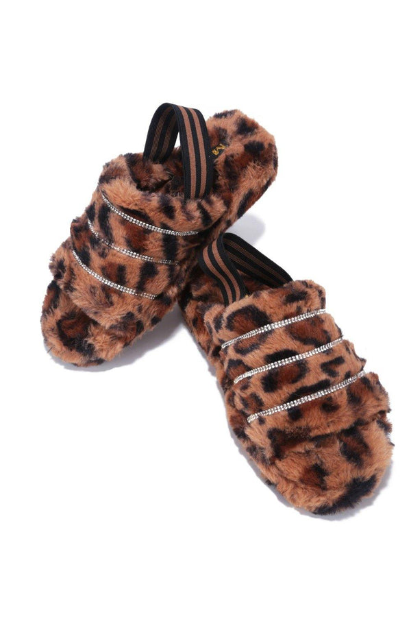 PARISA TIME FOR A NAP FUR SANDALS-LEOPARD