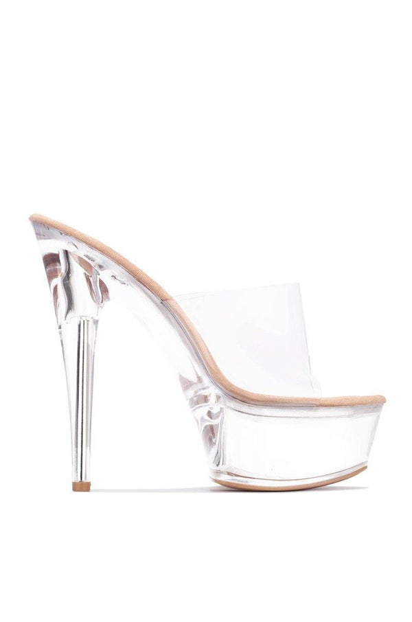 ARIELLIE I SEE RIGHT THROUGH CLEAR PLATFORM HEELED MULE-NUDE