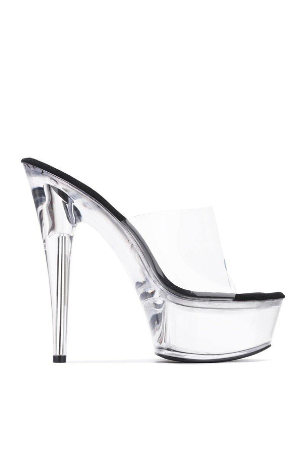 ARIELLIE I SEE RIGHT THROUGH CLEAR PLATFORM HEELED MULE-BLACK
