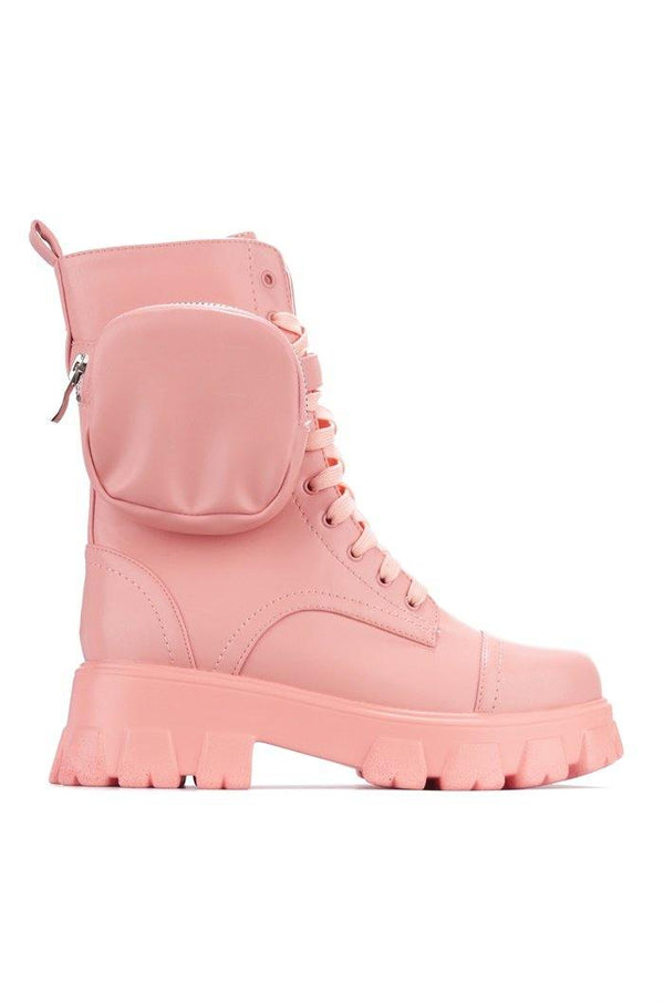 MONALISA LET'S DO THIS COMBAT BOOTS WITH POUCH-PINK