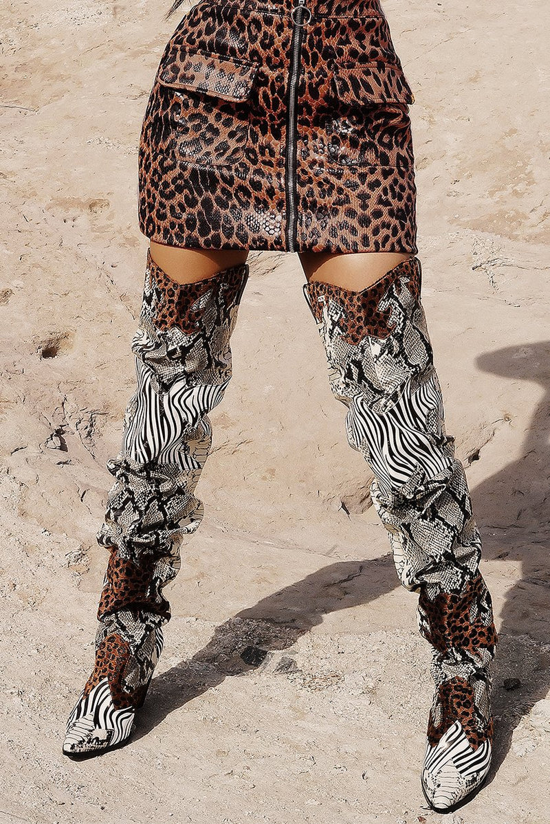 HILDA OVER THE KNEE THIGH HIGH CHUNKY LOW HEEL BOOTS-ANIMAL