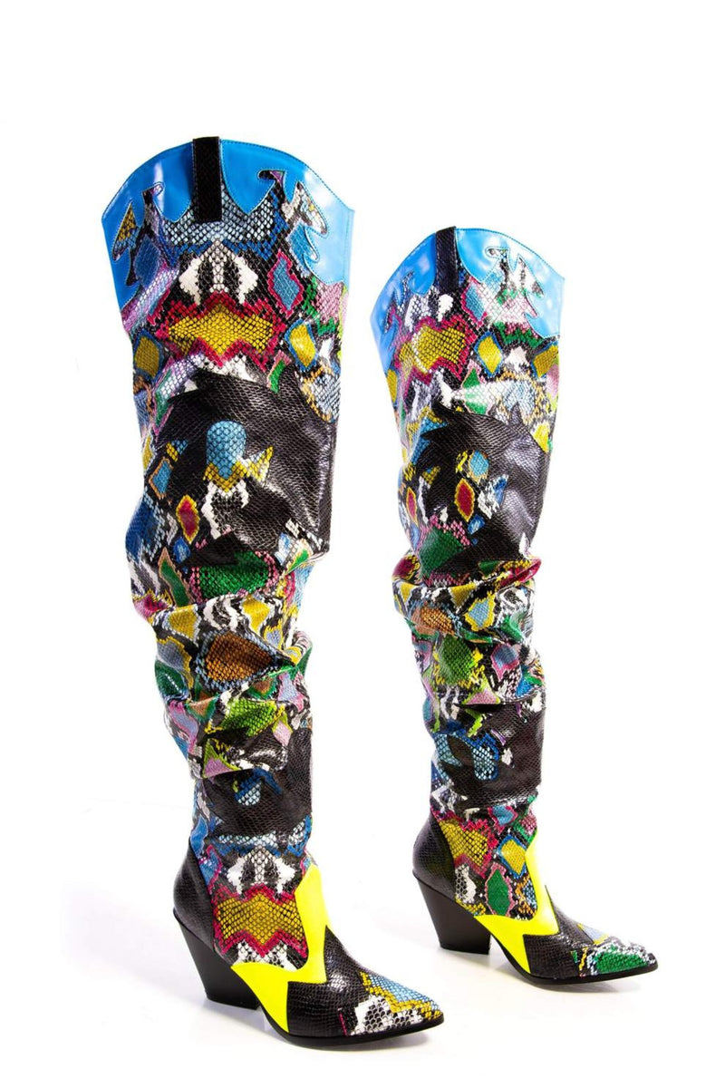 HILDA OVER THE KNEE THIGH HIGH CHUNKY LOW HEEL BOOTS-MULTI COLOR