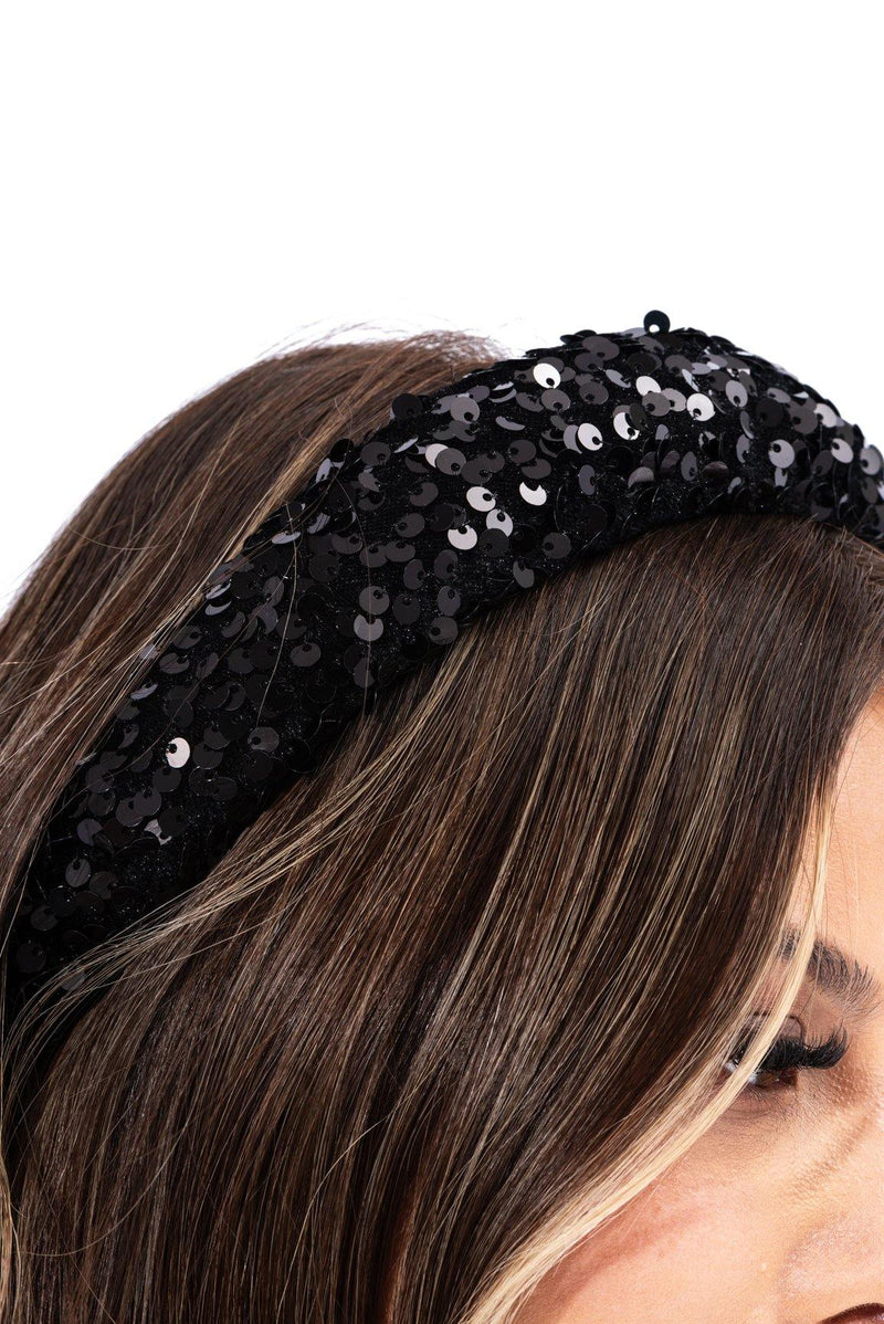 SEE HER SEQUIN HEADBAND-BLACK