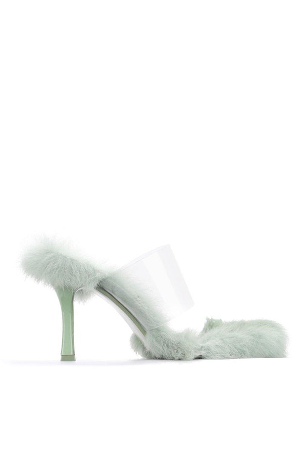 FANNIE PICK UP THE PACE FUR CLEAR MULE-SAGE