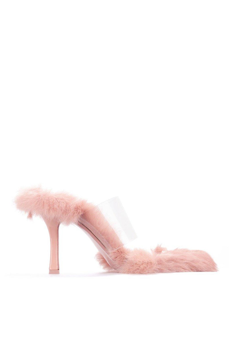 FANNIE PICK UP THE PACE FUR CLEAR MULE-BLUSH