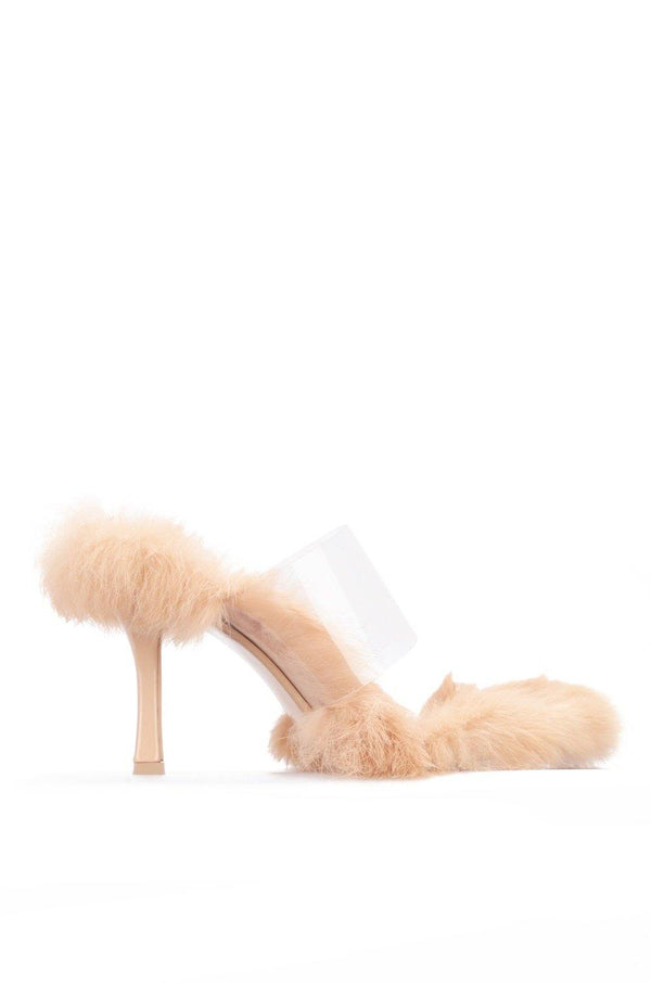 FANNIE PICK UP THE PACE FUR CLEAR MULE-NUDE