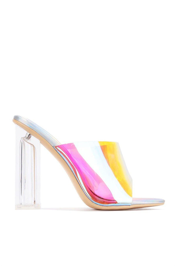 FUSION TRANSPARENT CLEAR CHUNKY BLOCK HIGH HEEL SANDAL-HOLO