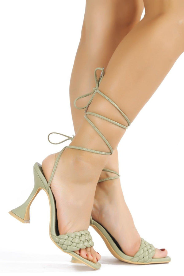 CURVE THE LESS YOU KNOW LACE UP SANDAL-SAGE