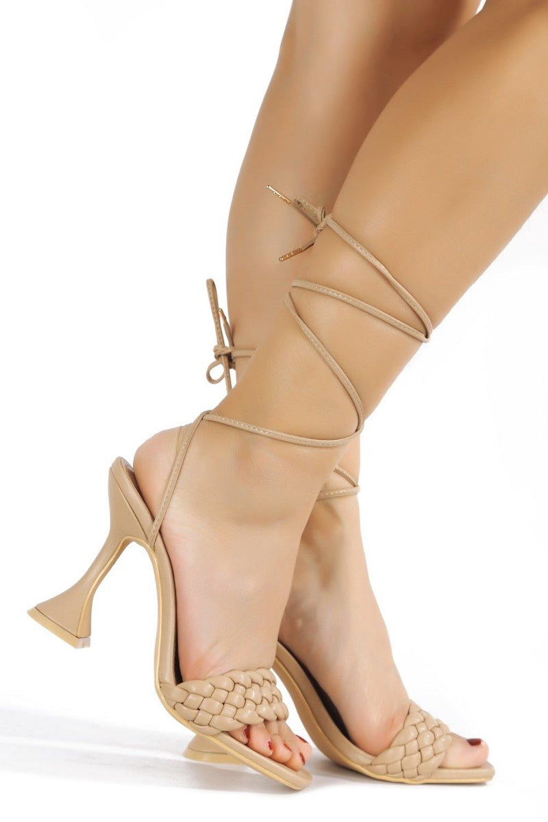 CURVE THE LESS YOU KNOW LACE UP SANDAL-NUDE